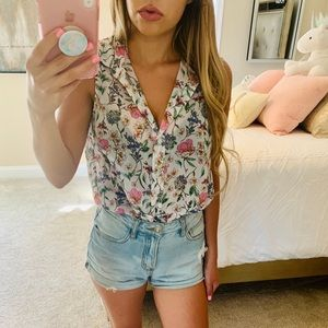 Floral Button Up Tank Top